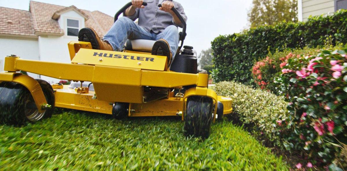Dealership hustler lawn mower